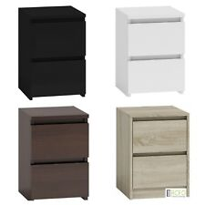 Ikea Style Bedside Table, Cabinet, Two Drawers - Oak ,White ,Walnut, Black Gloss