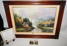 Thomas Kinkade Simpler Times I 35 x 26 Framed Canvas Oil Painting, COA 2685/3450