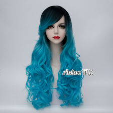 75CM Lolita Black Mixed Blue Curly Long Women Party Cosplay Wig Heat Resistant