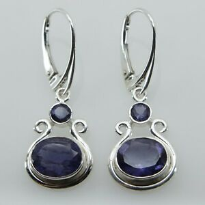Genuine, Natural Blue IOLITE Oval Earrings 925 STERLING SILVER Leverback #26