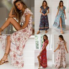 Women Summer Boho Long Maxi Beach Dress Ladies Evening Party Floral Sundress