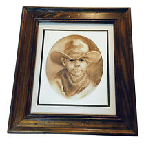 Home Interior Homco Pioneer Cowboy Picture Little Boy 1980's Wood Frame Western