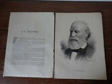 Gravure Lithographie FRANCOIS VINCENT RASPAIL Pantheon Republicain Fayard (1874)