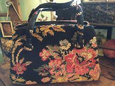 Vintage Carpet Bag Purse~Handbag Black with Floral Motif dbl Handles Clasp Close