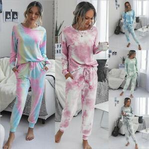 Women Long Sleeve Tie Dye Shirt + Pants Tracksuit Set Casual Suit Lounge Wear AU
