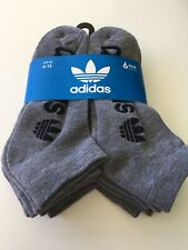 New Mens Adidas Logo 6 Pack Sport Gym Fitness Street Style Low Cut Socks Gray