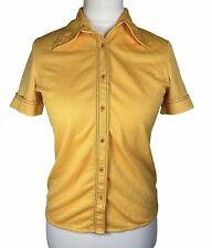 Vintage Yellow Crimplene St Michael Blouse Size 10 - 12 (14) Dagger Collar 70's