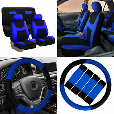 Car Seat Covers Blue Black 14pc Set for Auto w/Steering Wheel/Belt Pad/Head Rest