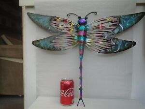 Very large copper metal art DRAGONFLY wall hanging with amazing colouration LOOK