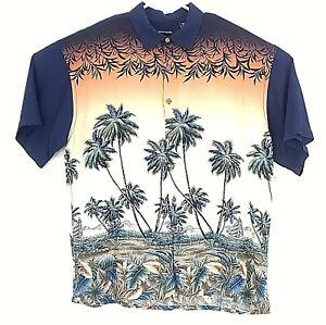 Pierre Cardin Shirt Mens Size XL Palms Sailboat Aloha Camp Short Sleeve Colorful