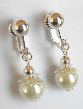 PRETTY WHITE GLASS PEARL DROPS SILVER EARRINGS - CLIP ONS or Hook options