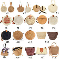 Summer Women Straw Rattan Beach Bag Woven Crossbody Shopping Handbag Tote