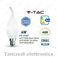 Lampadina led V-TAC 4W E14 VT-1937 a fiamma cover bianca filamento lampada opaca