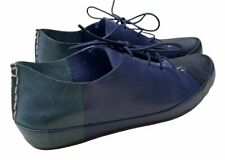 10 Crosby Derek Lam Jo Lace Up Sneakers Womens Size 8.5 Blue Green Leather Shoes