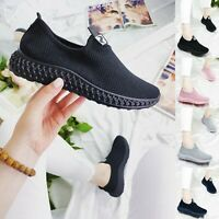 WOMENS LADIES KNIT TRAINERS SLIP ON SPORT SNEAKERS CASUAL RUNNING WOMEN SHOES
