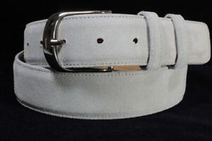 Genuine Light Gray Italian Suede Leather Belt (Made in U.S.A)