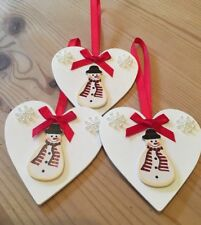 3 X Snowman Christmas Decorations Handmade Shabby Chic Real Wood Red