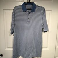 Alan Flusser Blue and White Stripe Golf Polo Short Sleeve Golf Shirt Size Small