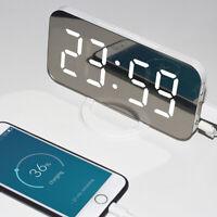 2019 Dual USB Digital LED Clock Snooze Mirror Alarm Clock Time Night Mode Large