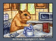 HAMSTER HOMEMAKERS Baking Cooking ACEO Art Limited Edition Sketch Card Print