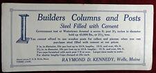 Vintage Business Card/Blotter Builders Columns/Posts Raymond D Kennedy Wells ME