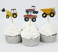 12 x Digger Dumper Truck Lorry Car Monster Cake Picks Cupcake Toppers Flags