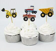 12 x Spéléon tombereaux Camion Lorry car Monstre Cake Picks Cupcake Toppers Flags
