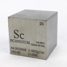 1 inch 25.4mm Varnished Scandium Metal Cube 99.95% 50g Engraved Periodic Table