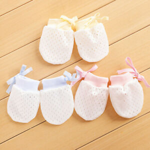 2 Pair Soft SILKY Baby Anti-scratch Breathable Drawstring Gloves MITTENS - MELB