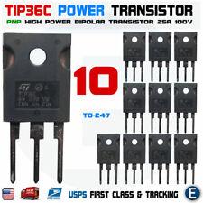 10pcs Tip36c Tip36 Power Transistor 25a 100v Pnp Bipolar To 247 Usa