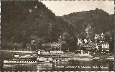 Schiff, Elbe, Dampfer Dresden in Schmilka, Sächsische Schweiz, alte Foto-Ak