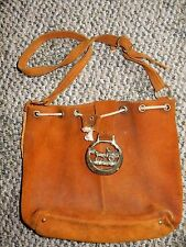 Vintage handmade brown suede leather purse with brass buckle