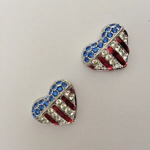 Signed (2) Swarovski The Brave Heart Crystal Pave Heart Rhodium Plated Tack Pin