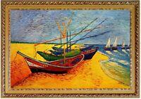 Ölbild Fischerboote am Strand Vincent van Gogh, Gemälde HANDGEMALT  ca 60x90cm