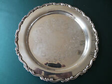 "Oneida Georgian Scroll round Silverplate tray,10"" diameter for teaset or whiskey"