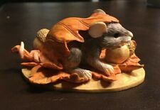 "Charming Tails Dean Griff Enesco ""Fall Frolickign"" Mouse Figurine-New In Box"