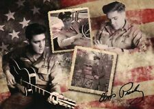 Elvis Presley in the Army Montage, Playing the Guitar, Car, Uniform --- Postcard