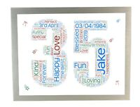 18th 21 30th 40th 50th 60th 70th 80th Birthday Personalised Word Art Print Gifts
