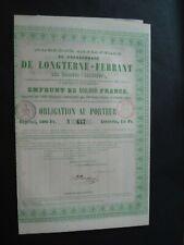 ACTION BELGIQUE CHARBONNAGE DE LONGTERNE-FERRANT 1861 ELOUGES + CAPITALISATION