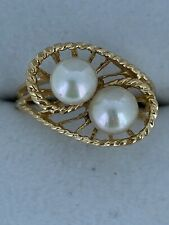 Ladies' Double Pearl 14k Gold Ring with Rope Design