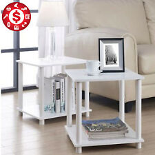 2 End Side Table White Night Stand Cube Box Storage Unit Modern Living Room Pair