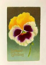 "Antique 1911 ""Birthday Greetings"" Yellow white & Purple Flower PC"