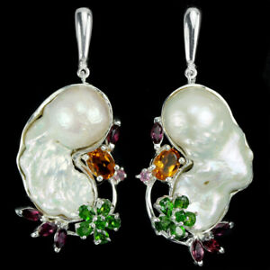 REAL BAROQUE PEARL CHROME DIOPSIDE RHODOLITE RUBY STERLING 925 SILVER EARRING