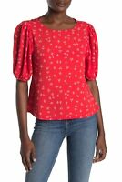 Elodie Womens Blouse Red Size XL Ditsy Floral Pleated Puff-Sleeve Top $52 023