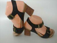 Dansko Anna Black Leather Adjustable Ankle Strap Sandals Women Size 37 US 6.5-7