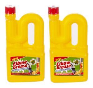 2x Elbow Grease DRAIN UNBLOCKER Sink Bath Shower Dissolves Hair Grease 750ml
