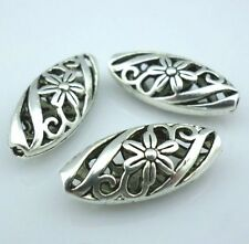 10Pcs Tibetan Silver Spacer Flower Flat oval Hollow Spacer Beads  (Lead-free)