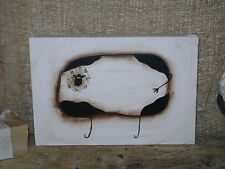 Primitive Cow Wooden Plaque Sign / Wall Hanging Terrye French Design Folk Art