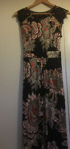 Ladies BHS Size 10 Black / Red Paisley Crochet Detail Maxi Dress BNWT RRP £35