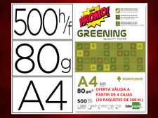 5 PAQUETES PAPEL DIN A4 80 gr. 500 FOLIOS por PAQUETE -   (1 CAJA)